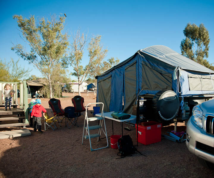 setting up camp at Longreach